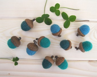 Felted Acorns Waldorf Spring Easter Home Decor Fairy Girl Party Kids Montessori Play Woodland Wedding Favor Baby Shower Blue Green Turquoise