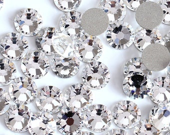 Swarovski Crystals CLEAR flat back stones rhinestone gems charms non hotfix for nail art design shoes clothes etc