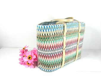 Raffia market basket, tote bag, French market basket, French vintage market basket, woven basket, French country decor, French farmhouse.