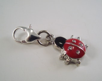 Ladybug Stitch Marker Clip Enameled Crystal Rhinestone Single /SM196