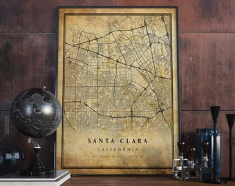 Santa Clara vintage map poster print wall art   California gift printable download   Old decor for home & office   Map Illustration   MP219