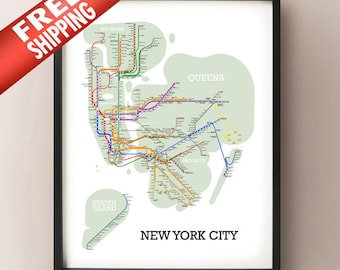 New York City Metro Subway Style Map Art Print