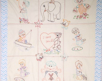 Vintage Style Hand Embroidered Quilt