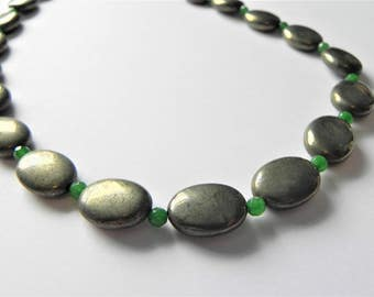"""Pyrite and green quartzite gemstone necklace, 19"""" in length"""