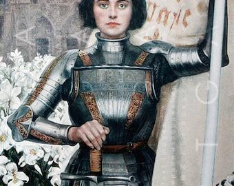 JEANNE D'ARC Most Beautiful Illustration ! Digital Vintage Joan Of ARC Arc Printable Image.  Joan Of Arc Digital Download.