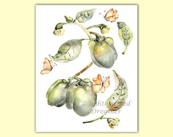 Vegetable Print, Green Kitchen Print, Kitchen Wall Art, Housewarming Gift, Kitchen Watercolor, Gift for Gardener, Kitchen Painting