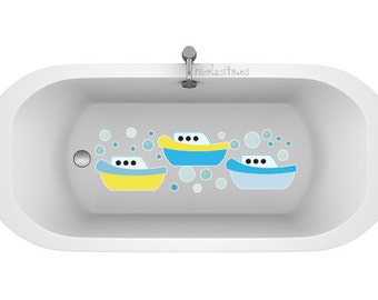 Non-skid nursery boats for bathrooms. Non-skid decal for bathtub. Nursery boat stickers. Non Slip Bath Tub fun shapes for kids. Nursery deco