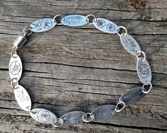 Fairie Flowers Sterling Silver Link Bracelet, Hand Made, Hand Engraved