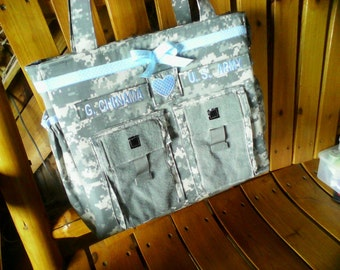 Army Daddy diaper bag any military fabric any custom request gift for her Army diaper bag travel bag personalized embroidery any colors trim