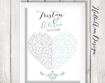 Our Wedding Vows -1st Paper Anniversary -custom vows - Wedding Gift for Her or Him Husband - Custom Unique Wedding Keepsake Gift - Newlyweds