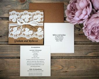 Vintage Lace Pocket Wedding Invitation SAMPLE