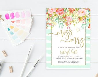 Bridal Shower Invitation, Bridal Shower Invite, Floral Bridal Shower Invitation, Printable Bridal Shower Invitation, Bridal Shower [411]