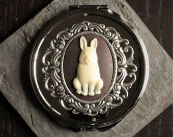 Rabbit cameo compact mirror, silver compact mirror, bunny compact mirror, bridesmaid gift, gift ideas for mom, unique Christmas gift