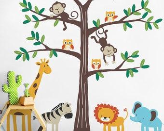 Safari Tree with Cute Animals, Safari Themed Nursery Wall Decal, Safari Tree Wall Decal, Nursery Decor, Safari Animals Decal Set