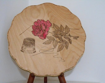 Red Rose With Sewing Needle,Thread And Thimble Woodburning Pyrography