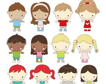 Sweet Cheeks Kids Digital Clip Art Illustrations - instant download - limited commercial use ok