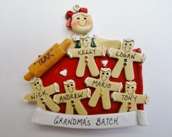 Grandma's Batch of 6 Grandchildren Personalized Ornament - 6 Grandchildren Ornament for Grandma