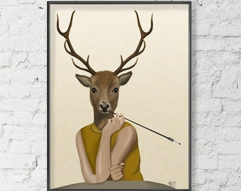 Dear Audrey, Audrey Hepburn deer art print Audrey Hepburn wall art deer print Home Decor Wall Decor wall hanging Audrey Hepburn poster decor