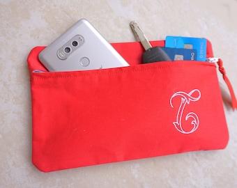Monogramme pochette - demoiselle d'honneur sac - trousse de maquillage personnalisée - monogramme cellule PhoneBag - cadeau de fête des mères - pochette à maquillage - trousse de maquillage