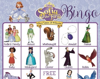 SOFIA The First Bingo Game — 10 Unique Bingo Cards with EXTRA LARGE Calling Cards for little hands — Instant Digital — Disney Princess Party