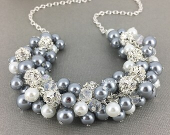 Grey and White Necklace Bridesmaid Gift Chunky Necklace Grey Necklace Wedding Jewelry on a Budget Pearl Necklace Maid of Honor Gift for Moms