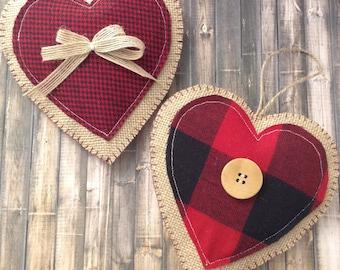 Christmas Hanging Hearts / Xmas Classic Plaid Ornaments / Buffalo Christmas Tree Ornaments / Christmas Fabric Ornaments / Set of 2 /Handmade