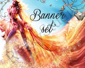 Shop Banner Set shop icon,cover/banner,avatar/profile picture-fairy,girl,dress,jewelry