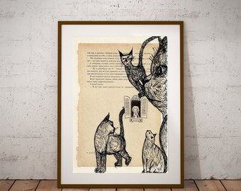 Cat Painting, Cat Prints, Unique Wall Art, Cats Wall Decor, Cats Illustration on Book, Pen Drawing, Beige Bohemian Wall Art, Cat Lovers Gift