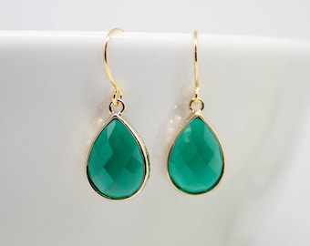 Earrings Gold-plated drop green emerald