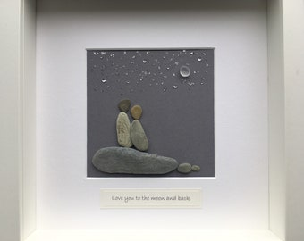 Pebble art - love you to the moon and back