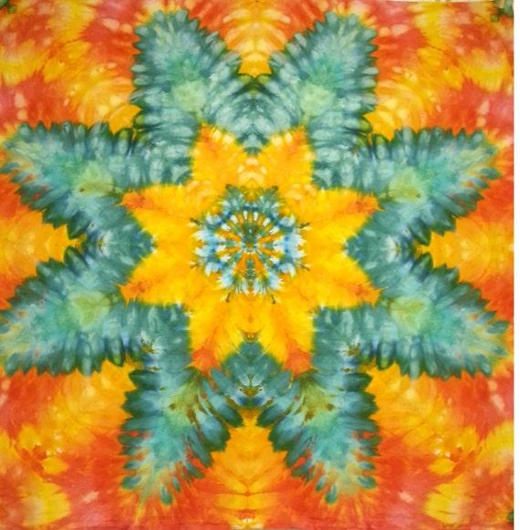 mandala star tie dye tapestry orange turquoise red yellow wall hanging