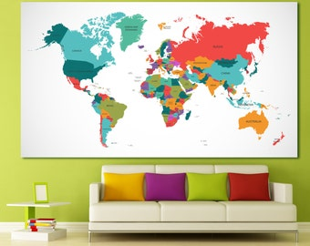 Push pin geography world map canvas, world travel map push pin travel map world map pinboard pin map colorful world map with country borders