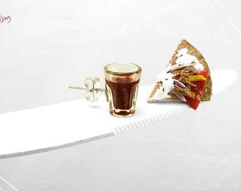 Gyros Pita & Wine Earrings, Greek Traditional Food Jewelry, Mini Food Jewelry, Polymer Clay, Foodie gift, Greek Food Earrings Greece