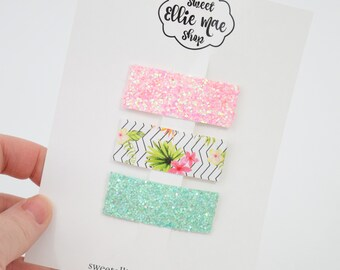 Guava, Tropical, Ocean Blue  | Faux Leather and Glitter Snap Clips