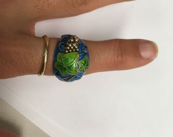 Vintage chinese enamel sterling silver ring with grape and vine design adjustable