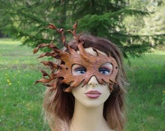 leather bark grain spiral mask/halloween