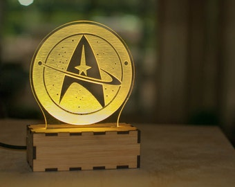 Star Trek Starfleet Insignia table lamp, Star Trek lamp, office desk accessories, trekkie desk lamp, office decor, office accessories
