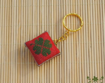 Green leaf good luck gift Four leaf clover keychain gift for her red embroidered gift for coworker Gift for him Housewarming gift for friend