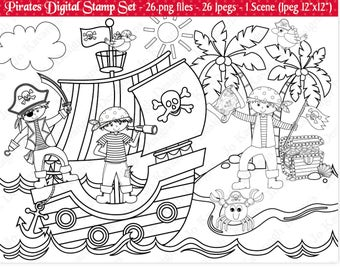 Pirate Digital Stamps,Digital Stamps,Pirate Stamps,Pirate Clipart,Clipart,Pirate Ship Stamps,Pirate Ship Clipart,Commercial Use (S18)