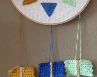 "Hand Stitched 8"" Hoop w/ Hanging Heart Arrows - Any Color"