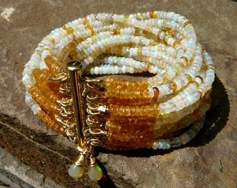 Multi Strand Ethiopian Opal Bracelet,Ethiopian Opal Bracelet,Welo Opal,Shaded Opal Jewelry,White Opal Bracelet,Mandarin Garnet,Gemstone Cuff