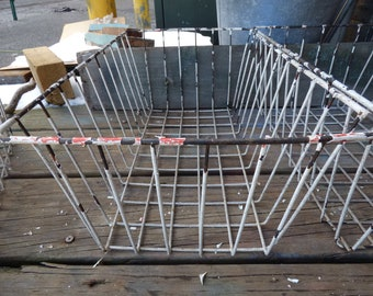 Vintage metal basket Wire chippy white farmhouse shabby planter home garden storage organize