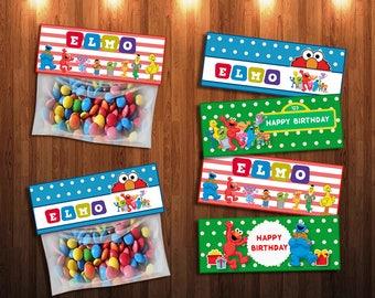 Elmo Treat Bags, Birthday Party Treat Bags, Elmo Party Favors, Elmo bags, Birthday Party Favors, Elmos Candy | EL_FULL