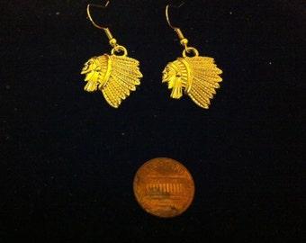 Indianer Kopfschmuck Ohrringe, Gold überzogene Native American Style Schmuck, Damen Ohrringe vergoldet, Nickel frei Vergoldung