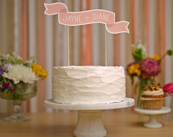 Custom Cake Banner No. 2 - Wedding Cake Topper
