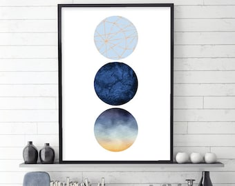 Printable Art, Minimalist Poster, Scandinavian Modern, Scandinavian Print, Geometric Print, Geometric Poster, Blue, Copper, 3 circles