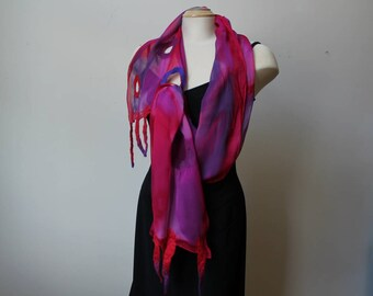 """Handpainted silk and nuno felted scarf, 12""""x72"""""""