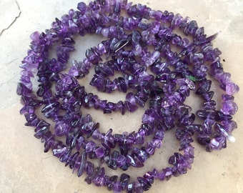 Amethyst Chip Beads, African Amethyst, 34 inch strand, 5 to 8mm