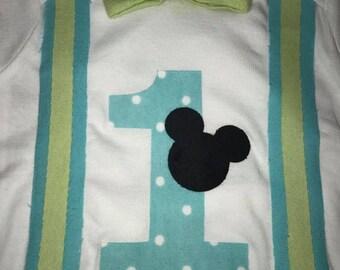 Mickey with suspenders birthday onesie/shirt