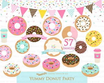 Donut, Yummy Donut Party, Doughnut, Donut Sprinkle Clip Art - Instant Download - CA013